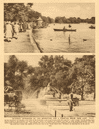 Hyde Park. Serpentine boating lake. Fountain beside Park Lane 1926 old print